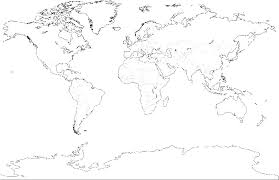 simple world map black and white colouring page step coloring for