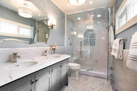 Gray Bathroom - wedgewood grey with his and hers bathroom traditional and