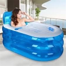 si e baignoire adulte baignoire gonflable adulte bébé bleu large 150x85x70cm bleu