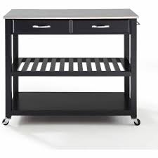 crosley furniture stainless steel top kitchen cart with optional
