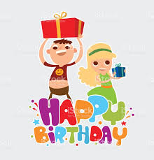 happy birthday card with two friends of and boy stock vector