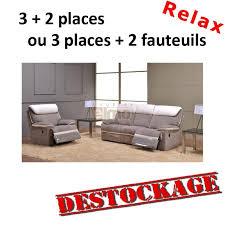 canapé relax tissus 3 places ensemble canapé relax contemporain cuir et tissu agrila