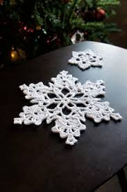 6 crochet snowflake ornaments large snowflake b84 in white