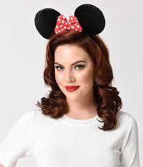 1950s headband black plush ears polka dot bow minnie mouse headband unique