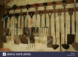 Inside Garden by Rows Of Tools Hanging Up Inside Garden Shed Stock Photo Royalty