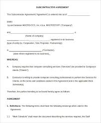 subcontractor agreement template border construction com with