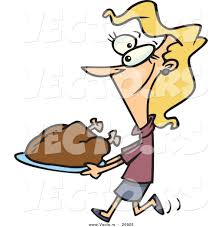vector of a happy cartoon woman carrying a roasted turkey on a