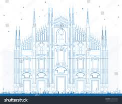 Milan Cathedral Floor Plan by Outline Duomo Blue Color Milan Italy Stock Illustration 430226434