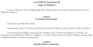 Template Wills by Exle Document For Last Will Testament