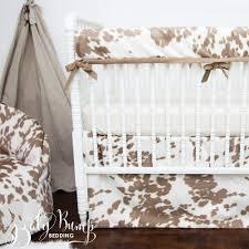 tan cowhide gender neutral rustic baby crib bedding