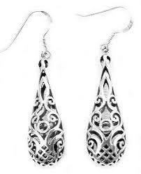 silver teardrop earrings sterling silver filigree dangle puffed teardrop