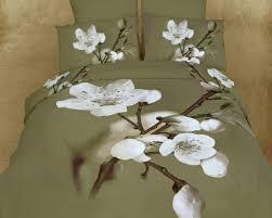sage green floral bedding duvet cover set queen or king designer