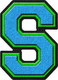 presentation alphabets light blue u0026 kelly green varsity letter s