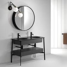 double washbasin cabinet contemporary ceramic free standing