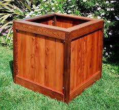 small square vertical massive wood planter box for small backyard