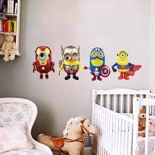 1pcs despicable me 2 minions superhero wall stickers home decor