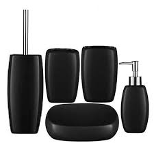 Red And Black Bathroom Accessories Sets 5 Piece Matt Black Stoneware Bathroom Accessories Set At Victorian