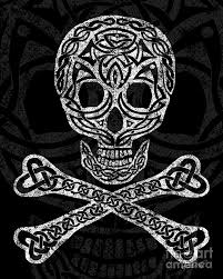 Celtic Skull - celtic skull and crossbones mixed media by kristen fox