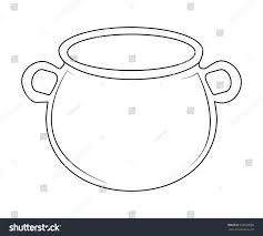 halloween coldren background empty witch cauldron pot outline vector stock vector 328520090