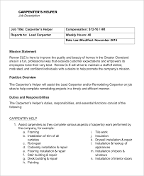 Carpenter Job Description For Resume by Duties Of A Carpenter Huanyii Com