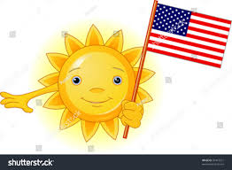 Flag Yellow Sun Cartoon Character Cute Summer Sun Holding Stock Vector 30415531