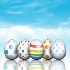 blue easter eggs easter eggs on a blue sky background vector free