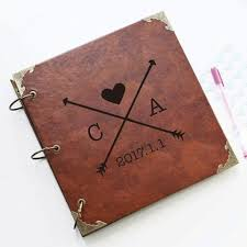 leather picture album personalized arrows and initials leather photo album personalized