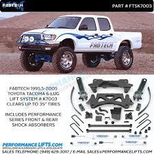 toyota tacoma suspension lift kits fabtech 1995 5 2004 toyota tacoma 4 cyl 6 lift k7003