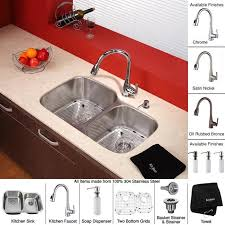 Kitchen Faucet With Soap Dispenser by Kraus 32 Inch Undermount Double Bowl Stainless Steel Kitchen Sink