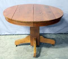 Antique Round Oak Pedestal Dining Table Antique Oak Round Pedestal Dining Table On Casters 42 5