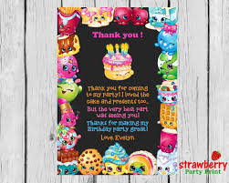 My Birthday Invitation Card Shopkins Thank You Card To Match Birthday Invitation Shopkins