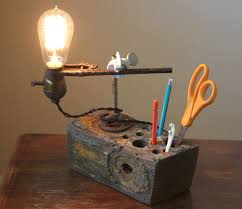 industrial lamp desk organizer this table lamp has an