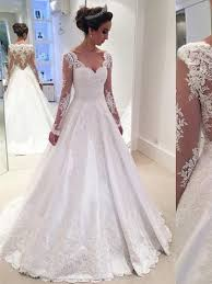 wedding gowns v neck sleeves appliques a line wedding dress tbdress