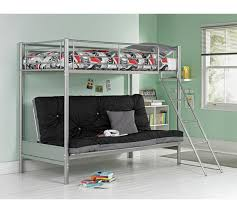 Buy HOME Metal Futon Bunk Bed With Ashley Mattress Black At - Futon bunk bed