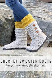 sweater boots with buttons how to crochet boots with flip flops free pattern tutorial