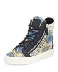 giuseppe zanotti men u0027s embossed snake print high top sneaker in