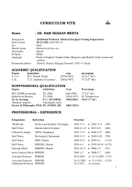 Oncology Nurse Resume Format Dr Ram Sharan Mehta Cv