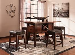 dining table with wine storage danfield 5 pc counter height dining set dark brown raymour