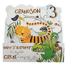 Jungle Birthday Card Hallmark 3rd Birthday Card For Grandson Pop Out Jungle Large