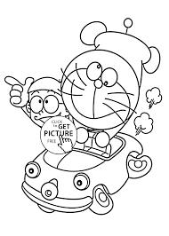 doraemon car coloring pages kids printable free doraemon