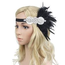 flapper headband retro 1920s black feather headpiece beaded sequined hairband great