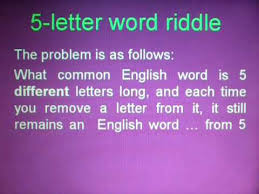 5 letter word riddle youtube