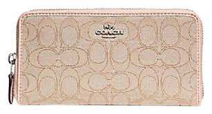 light pink coach wallet coach light pink f54633 accordion zip in outline signature wallet