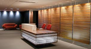 decorations modern wood wall panel in lobby office idea