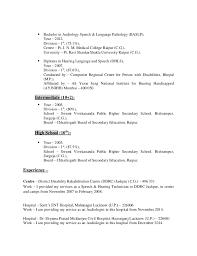 Sample Speech Pathologist Resume by Resume Imran Ansari