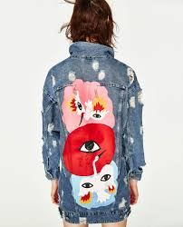 oversized denim jacket with tiger print oil on denim trf zara