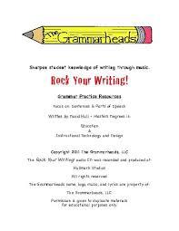 rock your writing parts of speech book teacherlingo com