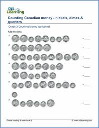 grade 3 counting money worksheet on counting canadian nickels