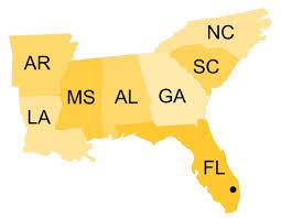 map usa southeast southeast region nph usa