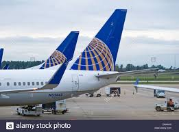 united airlines aircraft sit on the tarmac at george bush stock